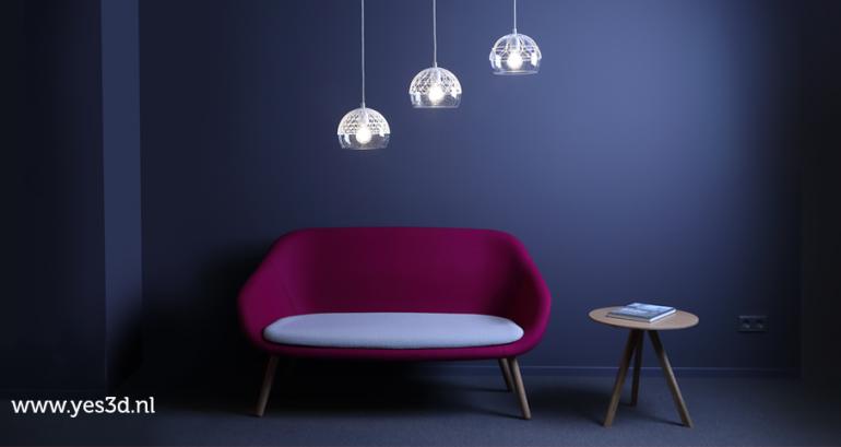 3D geprinte lamp, samenwerking tussen 3Dlink en Ontwerpduo